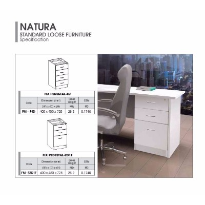 AMBER FURNITURE Fixed Pedestal 2D1F(White/ Grey) (1 Units Per Carton)