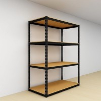 Warehouse Boltless Storage Rack 4 Level Wood Shelves 1800 H x 1200L x 600 D (Black)