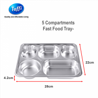 5 Compartments Fast Food Tray Stainless Steel Toffi (B6021)