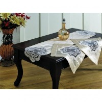 Tual Yatak Odasi Takimi (Bej) - Nazik 3 Pieces Table Cloth Set (Beige)