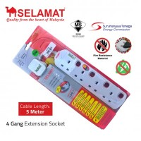 SELAMAT 4 Gang Extension Socket (5m)