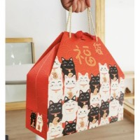 PROSPERITY LUCKY CAT HAND CARRY GIFT BOX   PAPER BAG WITH STRING