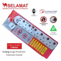 SELAMAT 6 Gang Surge Protection Extension Socket (3m)