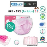 JADI CARE Disposal Children 3 Ply Face Masks - Plain Pink (50pcs Per Box)