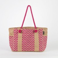 # AB 18 - TOSSA Fashion Jute Bag - Zig Zag print/pink (550 gm. Per Unit)